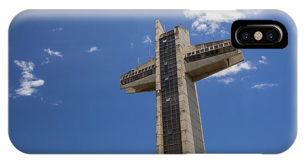 IPhone Case featuring the photograph La Cruz Del Vigia Against Blue Sky In Ponce Puerto Rico by Bryan Mullennix