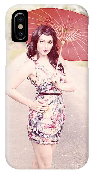 Lady With Red Parasol IPhone Case