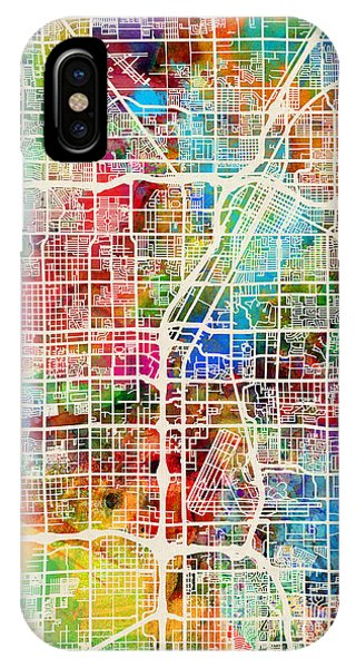 Las Vegas iPhone X Case - Las Vegas City Street Map by Michael Tompsett