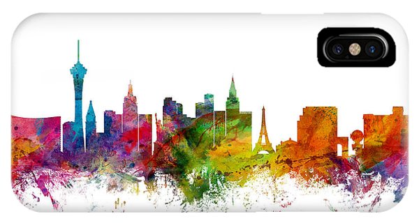 Watercolour iPhone Case - Las Vegas Nevada Skyline by Michael Tompsett