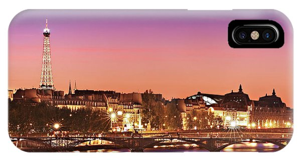 IPhone Case featuring the photograph Left Bank At Night / Paris by Barry O Carroll