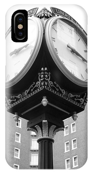 IPhone Case featuring the photograph Liberty Mutual Clock by Kelly Hazel