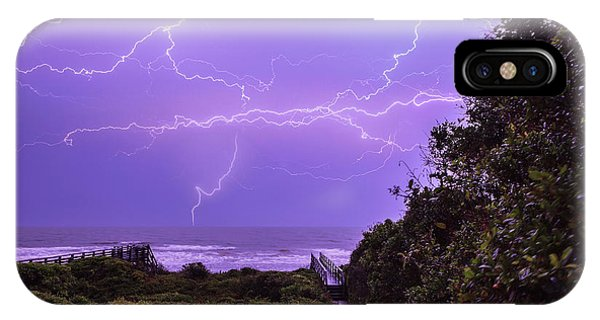 Lightning Over The Beach IPhone Case