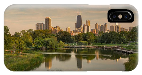 City Sunset iPhone Case - Lincoln Park Lagoon Chicago by Steve Gadomski