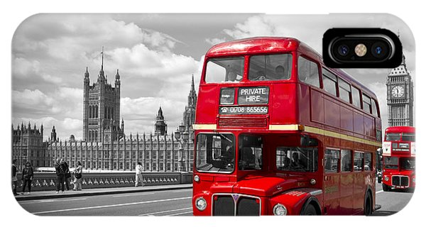 London - Houses Of Parliament And Red Buses IPhone Case
