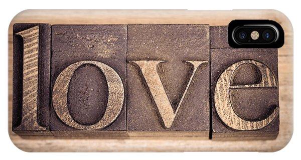 Valentine iPhone Case - Love In Printing Blocks by Jane Rix