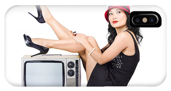 Lovely Asian Pinup Girl Posing On Vintage Tv Set IPhone Case