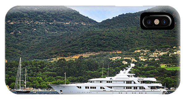 French Riviera iPhone Case - Luxury Yacht At The Coast Of French Riviera by Elena Elisseeva