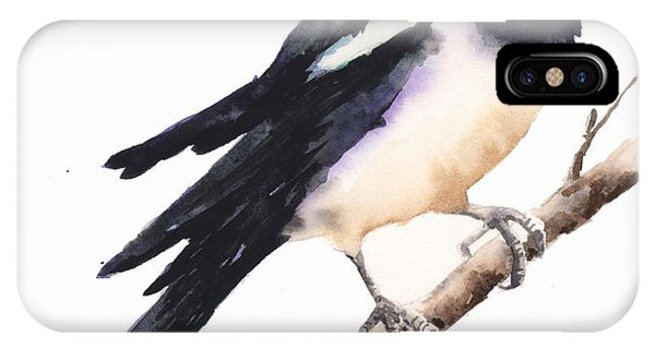 Magpies iPhone Case - Magpie Painting by Alison Fennell