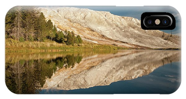 Mammoth Hot Springs iPhone Case - Mammoth Hot Springs, Reflected In Small by Howie Garber