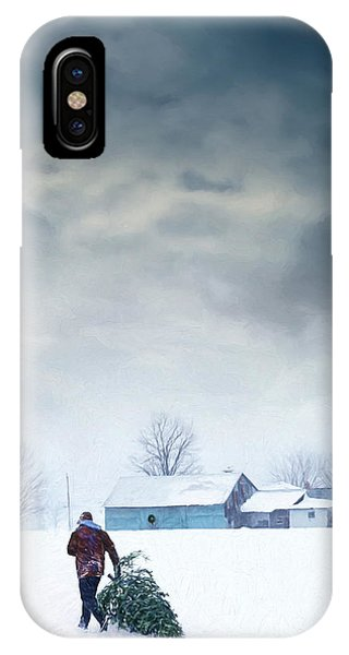 Man Carrying Tree For Christmas/digital Painting IPhone Case