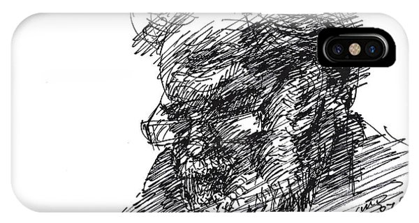 Sketch iPhone Case - Man In The Corner by Ylli Haruni