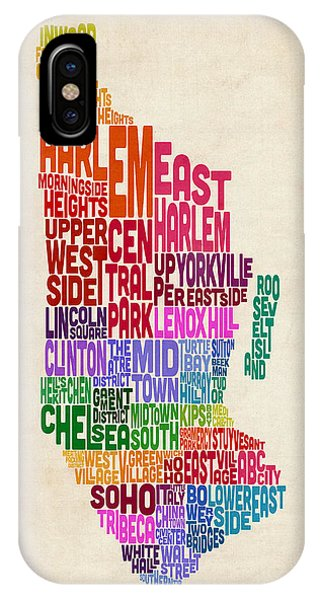 Manhattan New York Typography Text Map IPhone Case