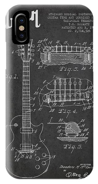 Electric Guitar iPhone Case - Mccarty Gibson Les Paul Guitar Patent Drawing From 1955 -  Dark by Aged Pixel
