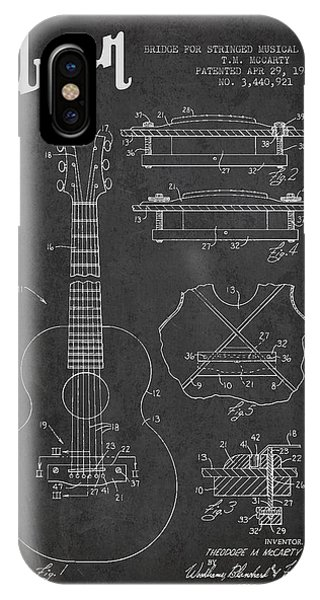 Mccarty Gibson Stringed Instrument Patent Drawing From 1969 - Dark IPhone Case