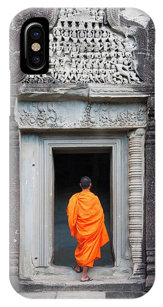Angkor Thom iPhone Case - Monk At Angkor Thom, Cambodia, A Unesco by Keren Su