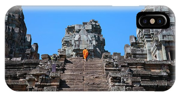 Cambodia iPhone Case - Monk At Thommanon Temple, Cambodia by Keren Su