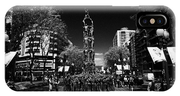 Monument To The Castellers On Rambla Nova Avenue In Central Tarragona Catalonia Spain Phone Case by Joe Fox