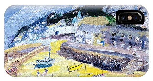 English Village iPhone Case - Mousehole, Cornwall, 2005 Acrylic On Board by Sophia Elliot