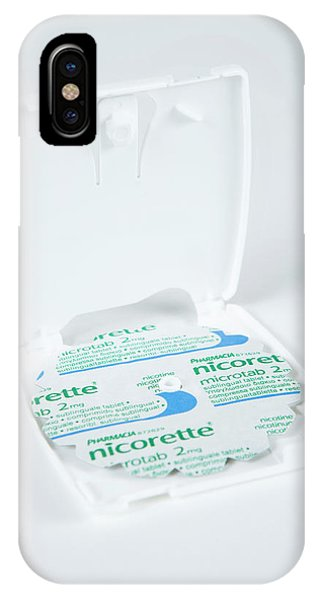 Dispenser iPhone Case - Nicorette Microtab Pills by Gustoimages/science Photo Library