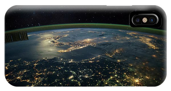 International Space Station iPhone Case - Night Time Satellite View Of Planet by Panoramic Images