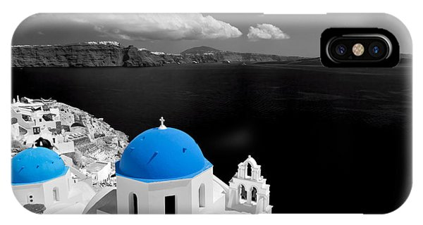 Oia Town On Santorini Island Greece Blue Dome Church Black And White. IPhone Case
