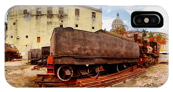 Capitol Building iPhone Case - Old Trains Being Restored, Havana, Cuba by Panoramic Images