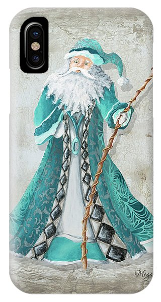 Santa Claus iPhone Case - Old World Style Turquoise Aqua Teal Santa Claus Christmas Art By Megan Duncanson by Megan Duncanson