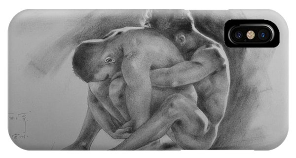 Original Drawing Sketch Charcoal Chalk  Gay Man Portrait Of Cowboy Art Pencil On Paper By Hongtao  IPhone Case