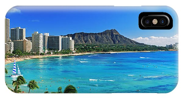 Oahu iPhone Case - Palm Trees On The Beach, Diamond Head by Panoramic Images
