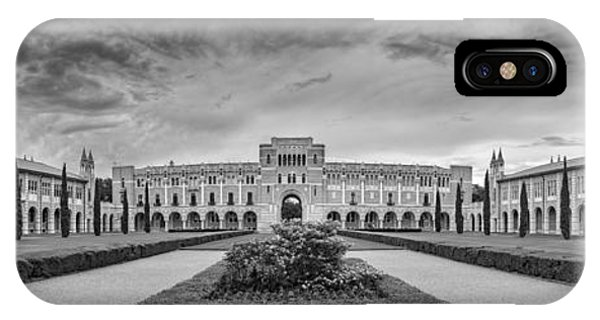 Panorama Of Rice University Academic Quad Black And White - Houston Texas IPhone Case