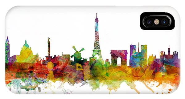 Skyline iPhone Case - Paris France Skyline by Michael Tompsett