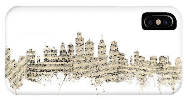 Philadelphia Pennsylvania Skyline Sheet Music Cityscape IPhone Case