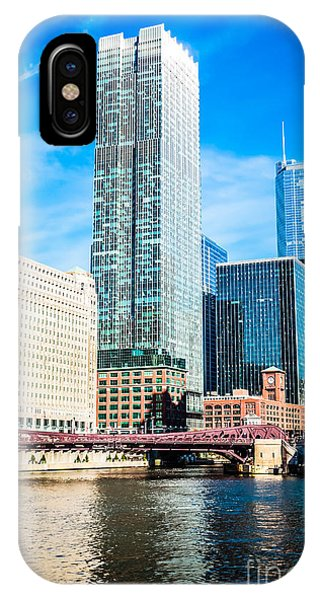 Picture Of Chicago River Skyline At Franklin Bridge IPhone Case