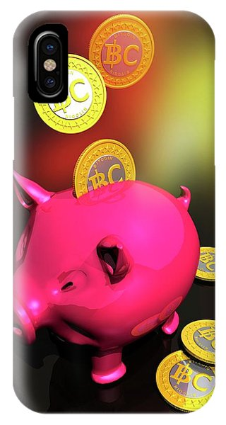 Piggy Bank And Bitcoins Phone Case by Victor Habbick Visions