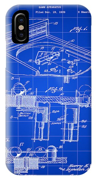 Pinball Machine Patent 1939 - Blue IPhone Case