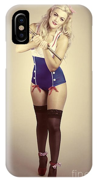 Navigation iPhone Case - Pinup Sailor Girl With Antique Telescope by Jorgo Photography - Wall Art Gallery
