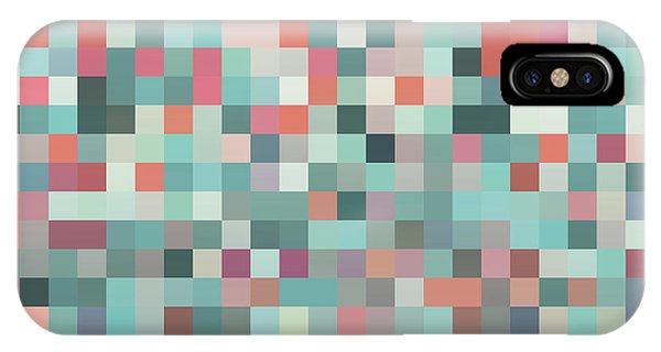 Rectangles iPhone X Case - Pixel Art Style Pixel Background by Mike Taylor