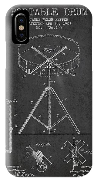 Drum iPhone Case - Portable Drum Patent Drawing From 1903 - Dark by Aged Pixel