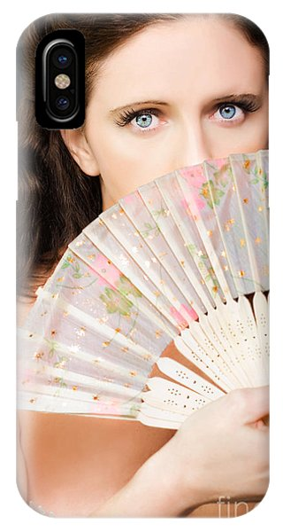 Culture Club iPhone Case - Portrait Of Beautiful Young Dancing Girl With Fan by Jorgo Photography - Wall Art Gallery