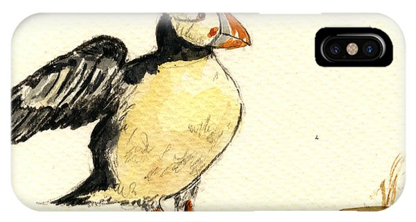 Bird Watercolor iPhone Case - Puffin Bird by Juan  Bosco