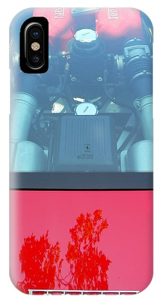 IPhone Case featuring the photograph Red Ferrari Engine Window by Jeff Lowe