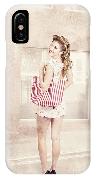 Window Shopping iPhone Case - Retro Pin Up Woman Carrying Vintage Shopping Bag by Jorgo Photography - Wall Art Gallery