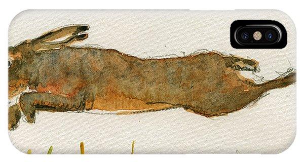 Rabbit iPhone Case - Running Hare by Juan  Bosco