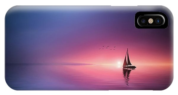 Pastel iPhone Case - Sailing Across The Lake Toward The Sunset by Bess Hamiti
