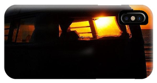 Vw Bus iPhone Case - Vw Bus At Sunset by Hal Bowles