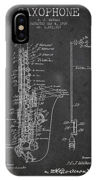 Saxophone iPhone X / XS Case - Saxophone Patent Drawing From 1928 by Aged Pixel