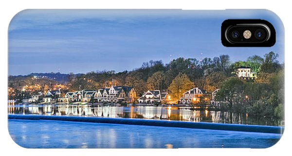 Schuylkill River  Boathouse Row Lit At Night  IPhone Case
