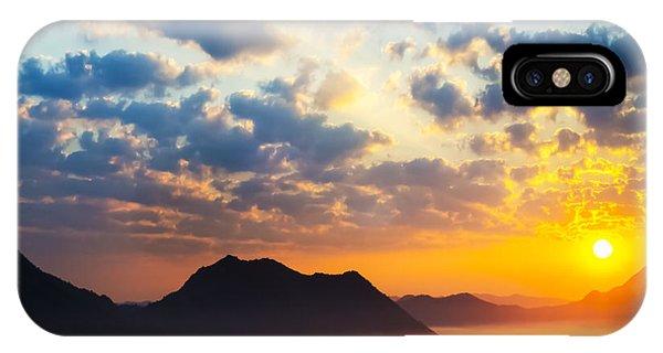 Sunrise iPhone Case - Sea Of Clouds On Sunrise With Ray Lighting by Setsiri Silapasuwanchai