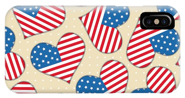 American iPhone Case - Seamless Pattern For 4th Of July by Allies Interactive